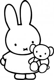 Nijntje konijn met beertje muursticker