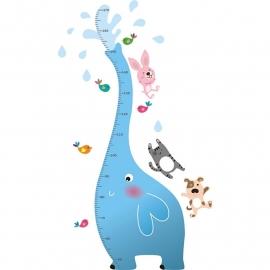 Muursticker hoogtemeter olifant blauw