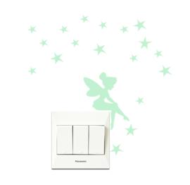 Muursticker glow in the dark fee - prinses met sterren mini sticker