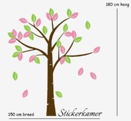 Muursticker boom  XXL ( lime groen + licht roze )