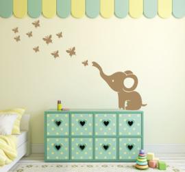 Muursticker baby olifant en vlinders kinderkamer
