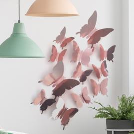 Muurstickers 3d vlinders rose goud glans effen