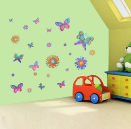 Muurstickers vlinders kleurrijk kinderkamer