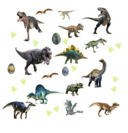 Muursticker glow in the dark dinosaurus kinderkamer