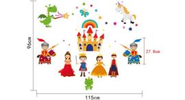 Muursticker prins en prinsessen  kasteel en sterren kinderkamer