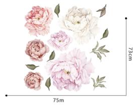 Muursticker pioenroos bloemen roze - wit