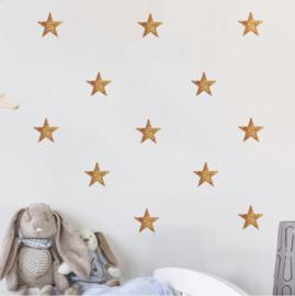 Muursticker sterren koper glitter 54 stuks
