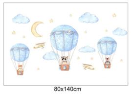Luchtballon met beesten wolken en sterren kinderkamer (blauw)