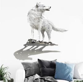 Muursticker wolf wit stoer