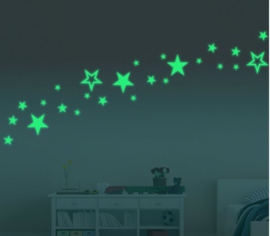 Glow in the dark sterren muursticker kinderkamer