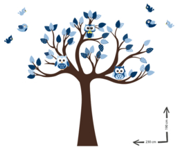 Muursticker cuddle tree blauw thema