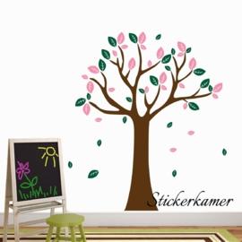 Muursticker boom XL ( donker groen + licht roze )