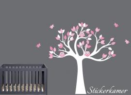 Muursticker boom met uilen en vogels (zacht roze)