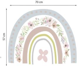 Muursticker regenboog met bloemen patroon kinderkamer