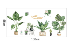 Muursticker tropisch groene planten variatie muurdecoratie