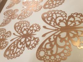 12 stuks rose gouden 3d vlinders muurdecoratie (7)