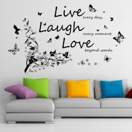 Muursticker quote Live love laugh + tak en vlinders