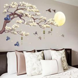 Muursticker magnolia tak XL met vogels en maan