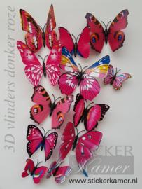 Kleurrijke 3D vlinders roze - 12 stuks