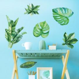 Muursticker palmblad bananenblad groen muurdecoratie planten