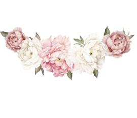 Muursticker pioenroos bloemen roze - wit decoratie babykamer - kinderkamer