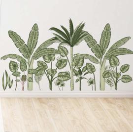 Muursticker tropisch decoratieve groene planten stickers