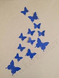 Muursticker losse 3d vlinders  (donker blauw)