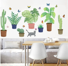 Muursticker tropische planten in pot