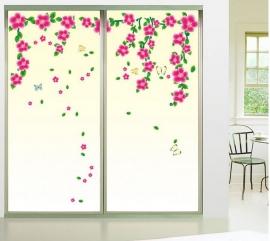 Mooie muursticker roze bloemen