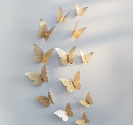 12 stuks gouden 3d vlinders muurdecoratie (2)