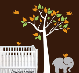 Muursticker Boom Baby kamer Olifant (kleuren aanpasbaar)