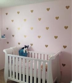 Muursticker hartjes print / patroon babykamer