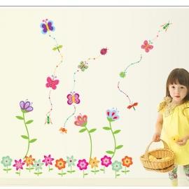 Muursticker kleurrijke bloemen kinderkamer