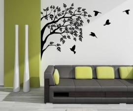 Muursticker Boom en vogels