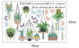 Muursticker tropische planten in pot