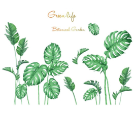 Muursticker decoratieve jungle palmbladen groen