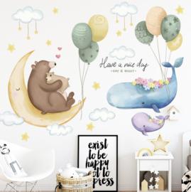Muursticker beer op maan, walvis en ballonnen