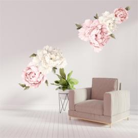 Muursticker pioenroos  XL bloemen roze en wit