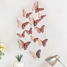 12 stuks rose gouden 3d vlinders muurdecoratie (4)