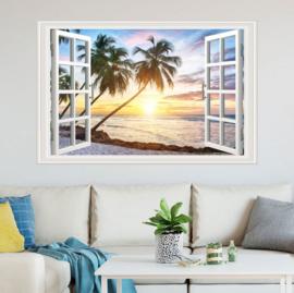 Muursticker raam met uitzicht op het strand palmboom muurdecoratie