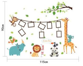 Muursticker safari dieren kinderkamer met fotolijstjes