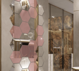 Spiegel hexagon vorm decoratie acryl muursticker (rose goud)