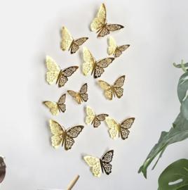 12 stuks gouden 3d vlinders muurdecoratie (4)
