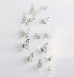 12 stuks zilveren 3d vlinders muurdecoratie (3)