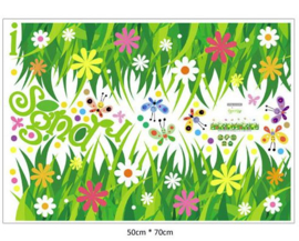 Muursticker gras  en bloemen strook - plint