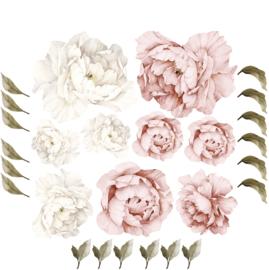 Muursticker pioen roos bloemen XL losse blaadjes