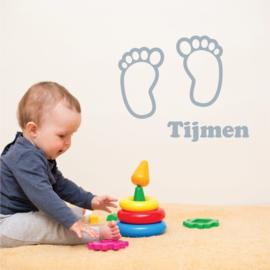 muursticker geboorte naam baby voeten
