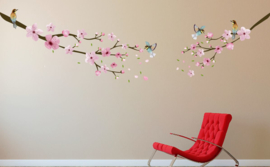 Muursticker tak roze bloesemblaadjes en vogels