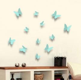 Muursticker losse 3d vlinders (turqoise blauw)