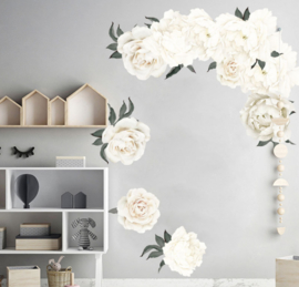 Muursticker pioenroos bloemen wit babykamer slaapkamer